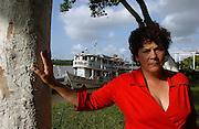 Judge Sueli Pini, 45,  and the  70ft by 15ft Fluvial Court boat, theTribune, that she founded. It is a here at Vila Progresso, a small village in the Bailique Archipeligo of the Amazon river's estuary near the Atlantic Ocean. <br />
