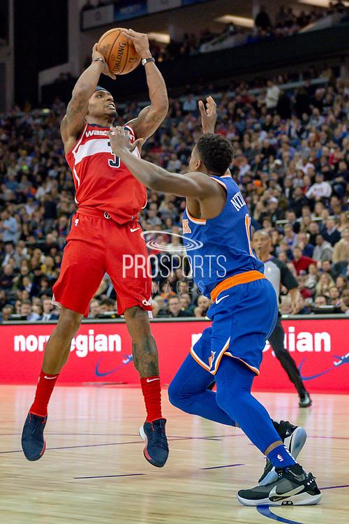 Washington Wizards Bradley Beal (3) and New York Knicks Frank Ntilikina (11) during the NBA London Game match between Washington Wizards and New York Knicks at the O2 Arena, London, United Kingdom on 17 January 2019.