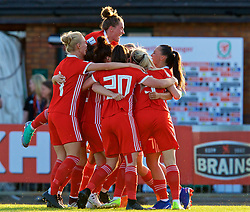 NEWPORT, WALES - Tuesday, June 12, 2018: Wales' Kayleigh Green celebrates scoring the first goal with team-mates during the FIFA Women's World Cup 2019 Qualifying Round Group 1 match between Wales and Russia at Newport Stadium. (Pic by David Rawcliffe/Propaganda)