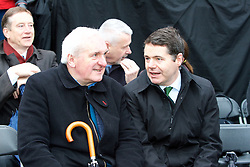 The Interfaith Service and Unveiling of Necrology Wall, Glasnevin Cemetery, Sunday 3 April 2016.<br /> Bertie Ahern and Minister for Transport, Tourism and Sport Paschal Donoho