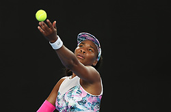 MELBOURNE, Jan. 17, 2019  Venus Williams of the United States serves the ball during the women's singles second round match against Alize Cornet of France at the Australian Open in Melbourne, Australia, Jan. 17, 2019. (Credit Image: © Bai Xuefei/Xinhua via ZUMA Wire)