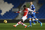 *** during the Barclays U21 Premier League match between Brighton U21 and Arsenal U21 at the American Express Community Stadium, Brighton and Hove, England on 1 December 2014.