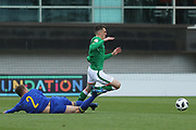 Sean Brennan of Republic of Ireland (11) is fouled by Elvir Muminovic of Bosnia and Herzegovina (2) during the UEFA European Under 17 Championship 2018 match between Bosnia and Republic of Ireland at Stadion Bilino Polje, Zenica, Bosnia and Herzegovina on 11 May 2018. Picture by Mick Haynes.