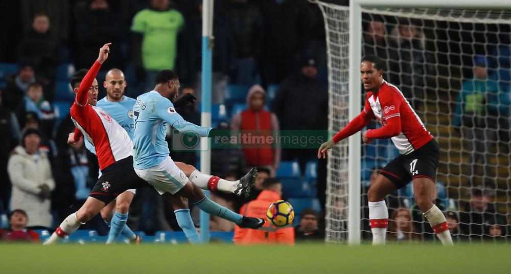 Manchester City's Raheem Sterling scores the winning goal