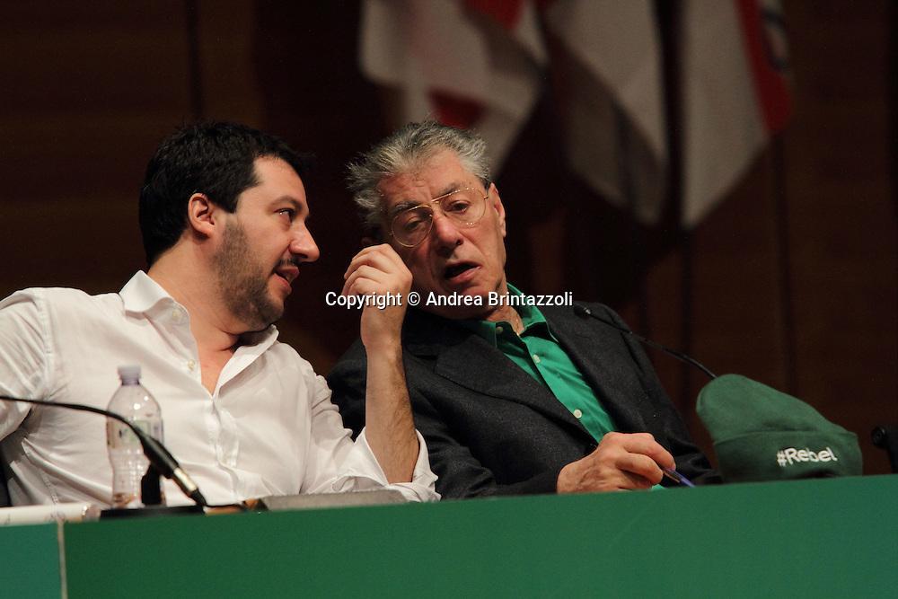 Torino 15 Dicembre 2013. Lingotto Fiere Congresso Federale Lega Nord Padania.<br /> Matteo Salvini, Umberto Bossi