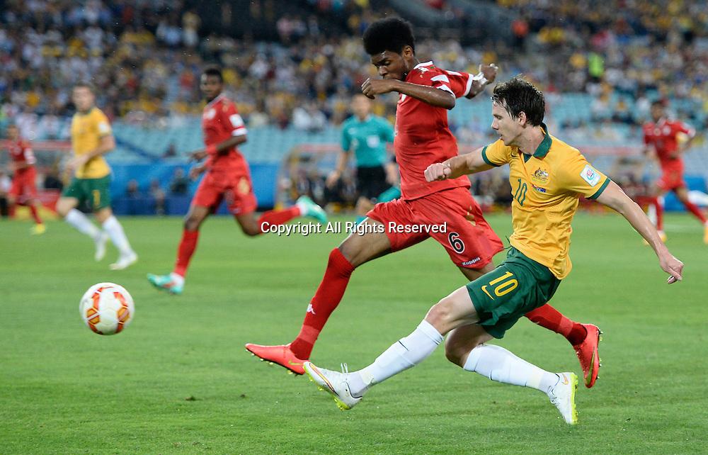 13.01.2015.  Sydney, Australia. AFC Asian Cup Group A. Australia versus Oman. Australian forward Robbie Kruse crosses into the box. Australia won the game 4-0.