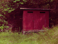 Purple outdoor restroom