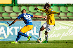 Tadej Vidmajer of Celje vs Ibrahim Arafat Mensah of Bravo during football match between NK Bravo and NK Celje in 13th Round of Prva liga Telekom Slovenije 2019/20, on October 5, 2019 in ZAK stadium, Ljubljana, Slovenia. Photo by Vid Ponikvar / Sportida