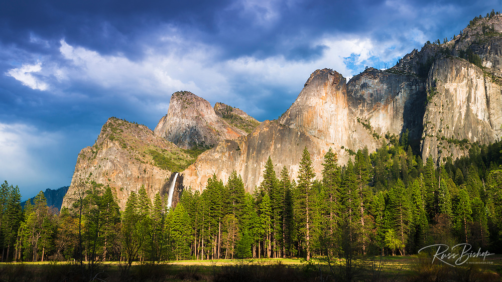 Afternoon light on Bridalveil Fall from Gates of the Valley, Yosemite National Park, California USA
