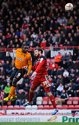 Wolves Forward Sylvan Ebanks-Blake (ENG) heads forwards against Bristol City Defender Matthew Bates (ENG) during the first half of the match - Photo mandatory by-line: Rogan Thomson/JMP - Tel: Mobile: 07966 386802 01/12/2012 - SPORT - FOOTBALL - Ashton Gate - Bristol. Bristol City v Wolverhampton Wanderers - npower Championship.
