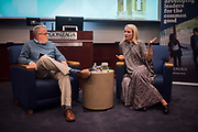 Comprehensive Leadership Program Director Josh Armstrong with Sseko Design founder Liz Forkin Bohannon at Leadership Fishbowl. (GU photo by Gavin Doremus)