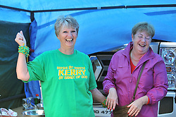 Helen McCloskey and Kathleen Groden enjoying the Kerry and  Mayo  rivalry at Murrisk Pattern day on sunday last.<br /> Pic Conor McKeown