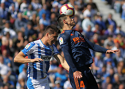 February 24, 2019 - Leganes, Madrid, Spain - Carrillo of Leganes and Roncaglia of Valencia in action during La Liga Spanish championship, football match between Leganes and Valencia, February 24th, Butarque stadium, in Leganes, Madrid, Spain. (Credit Image: © AFP7 via ZUMA Wire)