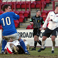 Clyde v St Johnstone...06.03.04<br />Paul Bernard heads home St Johnstone's third goal<br /><br />Picture by Graeme Hart.<br />Copyright Perthshire Picture Agency<br />Tel: 01738 623350  Mobile: 07990 594431