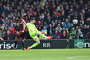 Wayne Hennessey (13) of Crystal Palace clears the ball away from Callum Wilson (13) of AFC Bournemouth during the Premier League match between Bournemouth and Crystal Palace at the Vitality Stadium, Bournemouth, England on 7 April 2018. Picture by Graham Hunt.