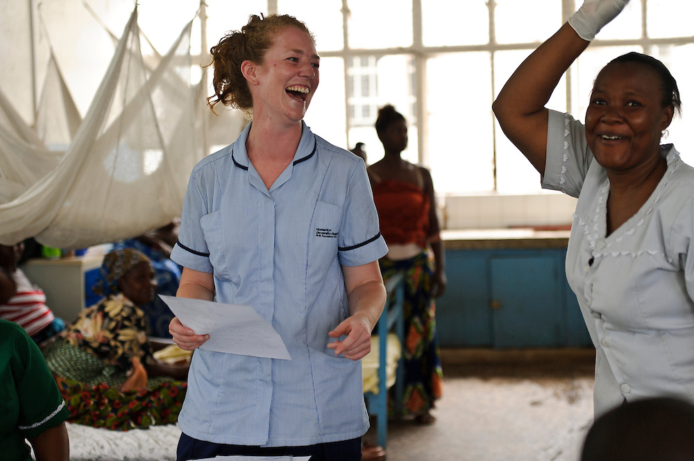 Rebecca Cridford with a nurse at the Ola During Hospital, Freetown, Sierra Leone. The Welbodi Partnership works to support the Ministry of Health and Sanitation in Sierra Leone to deliver high quality paediatric care.  The work of the charity is designed to stimulate lasting change, whether through one-time investments with long-term benefits, or ongoing engagement around key issues, and the charity's long-term commitment is reflected in its approach to funding - their aim is to establish an endowment fund for the hospitals with which they work..The charity's work is conceived, designed, led and implemented by local partners. Hospital staff in Sierra Leone often already know the best solutions to the numerous problems they face, and where they don't, they are the best judges of new ideas. So the role of the Welbodi Partnership is to coordinate funding, international expertise and local know-how to facilitate improvements in the delivery of health care.  They also work to build relationships and consensus with leaders within the Government of Sierra Leone, local health facilities, donors, NGOs and international partners..Welbodi Partnership works to instil a culture of innovation and excellence with partners and their team of experts. They constantly question the assumptions that underlie their work and the tools that they use, evaluate their efficacy and adapt what they do appropriately.
