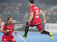 RAIPUR (India) - Cédric Charlier (Belg.) (r) has scored 0-1 . Semi Final in the  Hockey World League Final  men  INDIA v BELGIUM   / left Alexandre De Paeuw  (Belg.) © KOEN SUYK/WSP