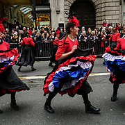Tens of thousands of people braved dreadful weather in central London for the capital's annual New Year's Day parade, January 1st 2018, London, UK.