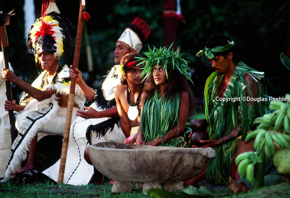 Polynesian ceremony at Marae Arahrahu, Tahiti, French Polynesia