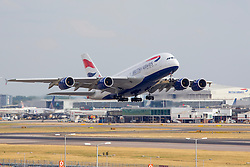 © Licensed to London News Pictures. 17/12/13. London, UK Extra runways at Heathrow and Gatwick airports are among the options put forward by the Government-appointed Airports Commission in its first report today 17th December 2013.  FILE PICTURE DATED 01/02/2011. British Airways  Airbus A380 Aircraft takes off at Heathrow Airport in London, UK. Photo credit :  IAN SCHOFIELD/LNP