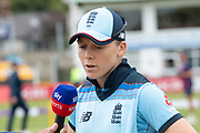 Heather Knight interviewed at the toss before  the Royal London Women's One Day International match between England Women Cricket and Australia at the Fischer County Ground, Grace Road, Leicester, United Kingdom on 2 July 2019.