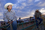 08 SEPTEMBER 2007 -- FT. DEFIANCE, AZ: SHAWNA BEGAY, a roper from Ganado, AZ, waits to compete at the All Women Rodeo in the Dahozy Stampede Rodeo Arena in Ft. Defiance, AZ, on the Navajo Indian Reservation. It was the first all women's rodeo on the Navajo Indian Reservation.  Photo by Jack Kurtz/ZUMA Press