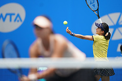 WUHAN, Sept. 28, 2018  Shuko Aoyama (R) of Japan and Lidziya Marozava of Belarus compete during the doubles semifinal match against Elise Mertens of Belgium and Demi Schuurs of the Netherlands at the 2018 WTA Wuhan Open tennis tournament in Wuhan, central China's Hubei Province, on Sept. 28, 2018. Elise Mertens and Demi Schuurs won 2-1. (Credit Image: © Cheng Min/Xinhua via ZUMA Wire)