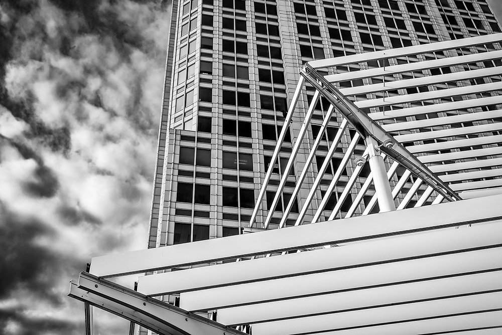Another abstract view of the Well Fargo Tower building in downtown Winston-Salem, NC