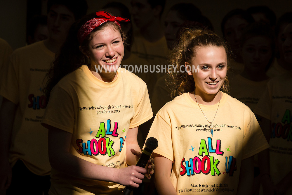 """Town of Wallkill, New York - Warwick High School students get ready to perform a song from """"All Shook Up"""" during the Orange County Arts Council's All-County High School Musical Showcase and Arts Display at the Galleria at Crystal Run on Feb. 27, 2016."""