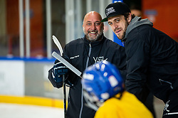 Toni Tislar and Anze Kopitar during practice at Hockey Academy of Anze Kopitar and Tomaz Razingar, on July 9, 2019 in Ice Hockey arena Bled, Slovenia. Photo by Vid Ponikvar / Sportida