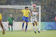 21 August 2008: Kate Markgraf (USA) (15) and Cristiane (BRA) (11). The United States Women's National Team defeated Brazil's Women's National Team 1-0 after extra time at the Worker's Stadium in Beijing, China in the Gold Medal match in the Women's Olympic Football tournament.