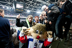 Fans with official mascot Buli during ice-hockey match between Slovenia and Hungary at IIHF World Championship DIV. I Group A Slovenia 2012, on April 18, 2012 at SRC Stozice, Ljubljana, Slovenia. Slovenia defeated Hungary 4:1. (Photo By Matic Klansek Velej / Sportida.com)