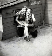 smiling young couple blurry portrait 1950s Netherlands
