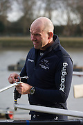 The Australian born Oxford University veteran rower James Ditzell helps prepare his boat for the team. At 45 currently the oldest ever rower in the history of the boat race. He trains with the rest of his squad on the Thames from Putney in West London under race conditions, hoping that as race day (April 6th 2012), his times are good enough for a seat in one of two of Oxford boats. First raced in 1829 the boat race between Oxford and Cambridge unbiversities is one of the oldest sporting events in the world. It is nowadays watched by thousands along the banks of The Thames Tideway, between Putney and Mortlake in London and by millions more on TV around the world.