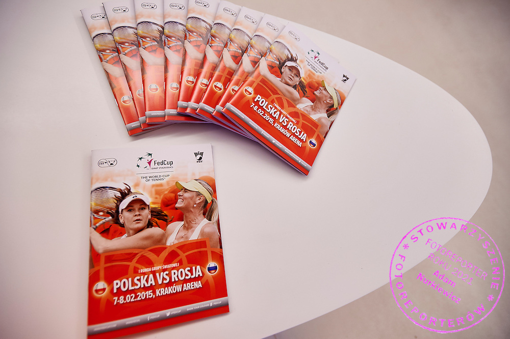 Official programme during official draw one day before the Fed Cup / World Group 1st round tennis match between Poland and Russia at Holiday Inn on February 6, 2015 in Cracow, Poland.<br /> <br /> Poland, Cracow, February 6, 2015<br /> <br /> Picture also available in RAW (NEF) or TIFF format on special request.<br /> <br /> For editorial use only. Any commercial or promotional use requires permission.<br /> <br /> Adam Nurkiewicz declares that he has no rights to the image of people at the photographs of his authorship.<br /> <br /> Mandatory credit:<br /> Photo by &copy; Adam Nurkiewicz / Mediasport