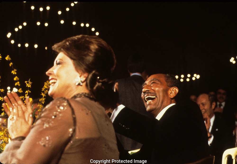 Jehan Sadat and  President Anwar Sadat, during a state dinner on April 8, 1980<br /> <br /> Photograph by Dennis Brack<br /> bb45