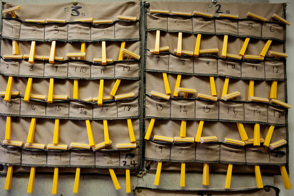 Detail shot of prisoners individually numbered razors where they are stored for safety at YOI Aylesbury.