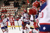 2020-02-12 | Ljungby, Sweden: Huddinge celebrating after scoring 1-2 during the game between IF Troja / Ljungby and Huddinge IK at Ljungby Arena ( Photo by: Fredrik Sten | Swe Press Photo )<br /> <br /> Keywords: Ljungby, Icehockey, HockeyEttan, Ljungby Arena, IF Troja / Ljungby, Huddinge IK, fsth200212, ATG HockeyEttan, Allettan