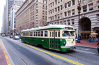 United States, California, San Francisco. Tram on Market Street.