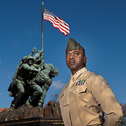 US Marine Corps Major Jamahl Evans is shown in front of the Iwo Jima Memorial Friday, Dec. 2, 2016, in Arlington, VA.<br /> <br /> Photo by Khue Bui