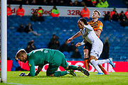 Leeds United forward Helder Costa (17), on loan from Wolverhampton Wanderers, goal is ruled out during the EFL Sky Bet Championship match between Leeds United and Hull City at Elland Road, Leeds, England on 10 December 2019.