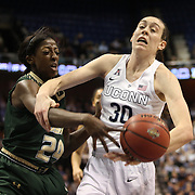 Breanna Stewart, (right), UConn, is defended by Alisia Jenkins, USF, during the UConn Huskies Vs USF Bulls Basketball Final game at the American Athletic Conference Women's College Basketball Championships 2015 at Mohegan Sun Arena, Uncasville, Connecticut, USA. 9th March 2015. Photo Tim Clayton