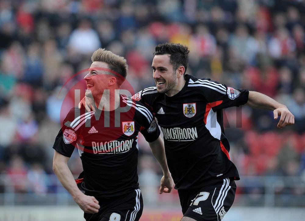 Bristol City's Wade Elliott celebrates his goal with Bristol City's Greg Cunningham - Photo mandatory by-line: Dougie Allward/JMP - Mobile: 07966 386802 29/03/2014 - SPORT - FOOTBALL - Rotherham - New York Stadium - Rotherham United v Bristol City - Sky Bet League One