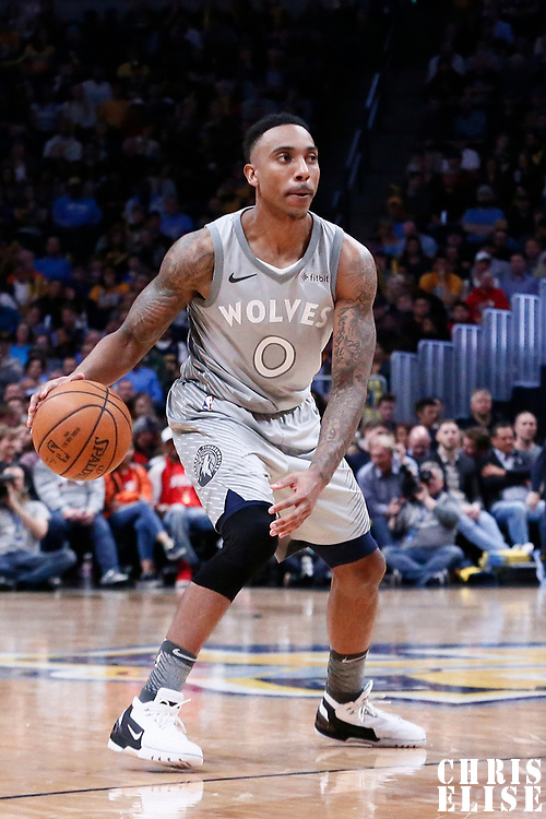 05 April 2018: Minnesota Timberwolves guard Jeff Teague (0) is seen during the Denver Nuggets 100-96 victory over the Minnesota Timberwolves, at the Pepsi Center, Denver, Colorado, USA.