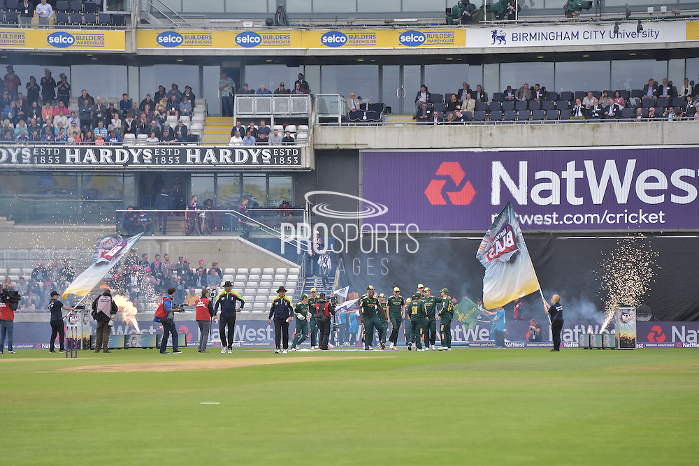 Blast Moffat the start of the NatWest T20 Finals Day 2016 match between Nottinghamshire County Cricket Club and Northamptonshire County Cricket Club at Edgbaston, Birmingham, United Kingdom on 20 August 2016. Photo by Simon Trafford.