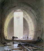 Kilsby Tunnel on London-Birmingham Railway: working shaft on 8 July 1837. Engineer R Stephenson. From J Bourne 'Drawings of the London and Birmingham Railway', 1839