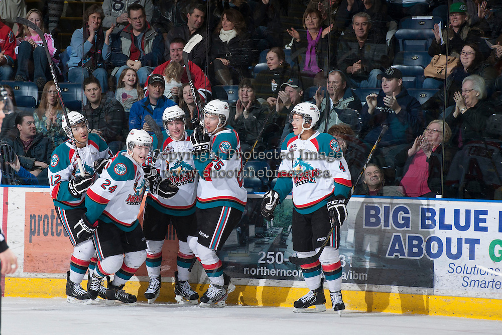 KELOWNA, CANADA - JANUARY 26: The Kelowna Rockets celebrate a goal against the Prince Albert Raiders at the Kelowna Rockets on January 26, 2013 at Prospera Place in Kelowna, British Columbia, Canada (Photo by Marissa Baecker/Shoot the Breeze) *** Local Caption ***