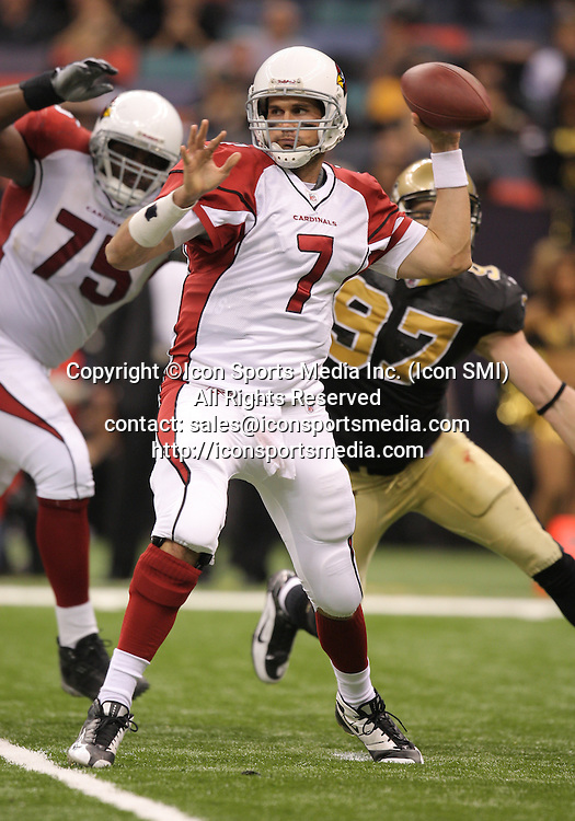 16 January 2010: Arizona Cardinals quarterback Matt Leinart (7) looks to pass during a 45-14 win by the New Orleans Saints over the Arizona Cardinals in a 2010 NFC Divisional Playoff game at the Louisiana Superdome in New Orleans, Louisiana.