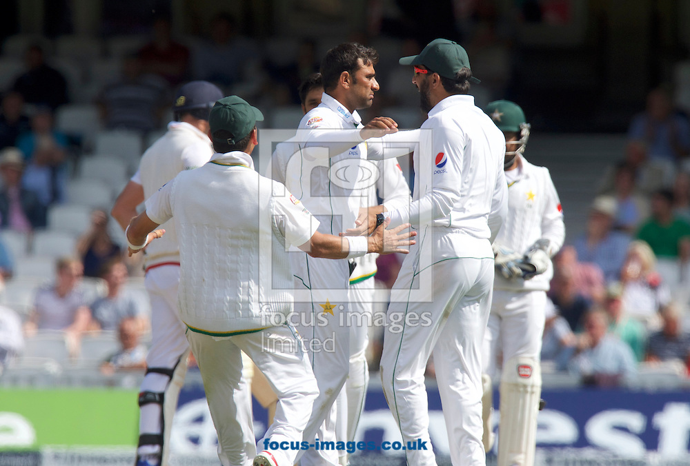 Bowler Iftikhar Ahmed of Pakistan celebrates taking the wicket of James Anderson of England who is out for lbw during Day Four of the fourth Investec Test Match at the Kia Oval, London<br /> Picture by Alan Stanford/Focus Images Ltd +44 7915 056117<br /> 14/08/2016
