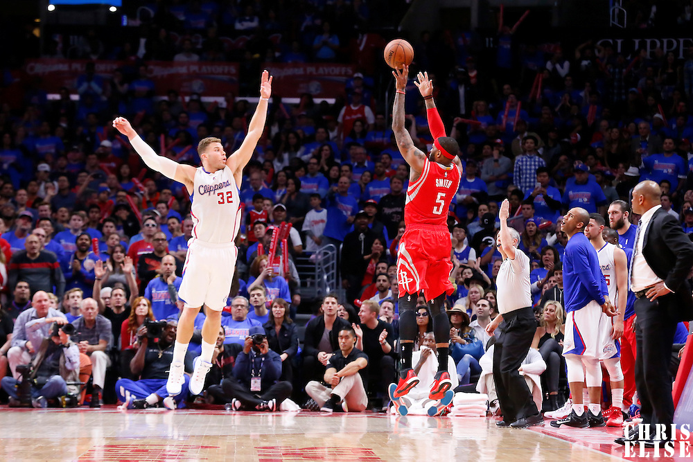 14 May 2015: Houston Rockets forward Josh Smith (5) takes a jump shot over Los Angeles Clippers forward Blake Griffin (32) during the Houston Rockets 119-107 victory over the Los Angeles Clippers, in game 6 of the Western Conference semifinals, at the Staples Center, Los Angeles, California, USA.